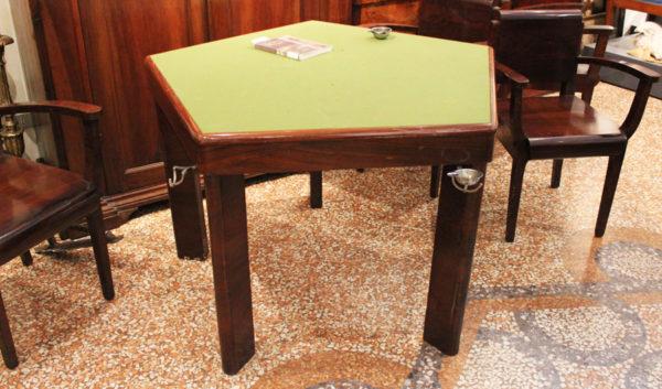 Melchiorre Bega Tavolo da gioco con Poltrone 1940-50 Antiquariato