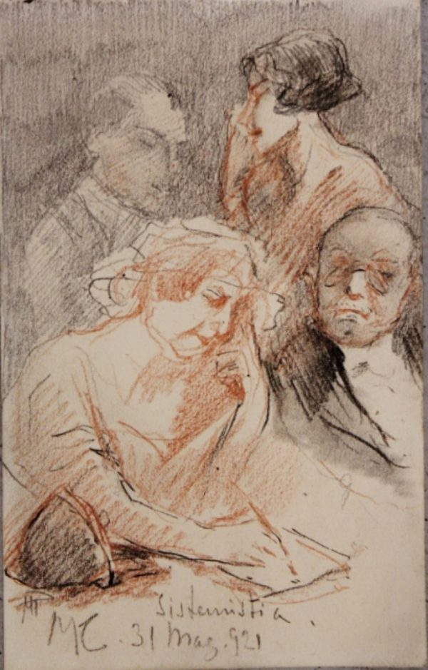 Pompeo Mariani Disegno 1921 '900 Antiquariato