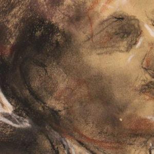 A. MANCINI | Ritratto, disegno a tecnica mista su carta.
