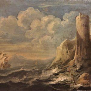 "Anonimo XVIIIsec. | ""Marina "" dipinto olio su tela"