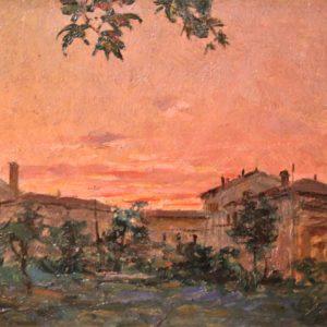 Fabio Fabbi   Paesaggi del 1920, olio su cartone