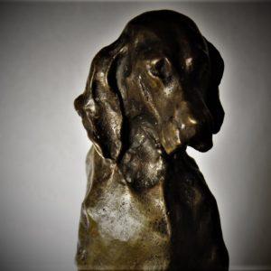 Paul Troubetzkoy | Cagnolina gravida, bronzo patinato.