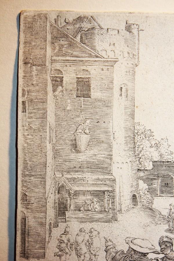 You are currently viewing Virgilio nella cesta , una storia di beffa e vendetta Da un incisione al bulino di L. Van Leyden 1525